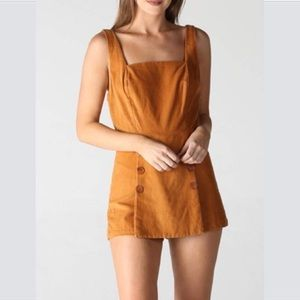 New Angie Corduroy Button Panel Romper in Cognac